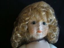 Vintage Porcelain Doll with Curly Hair Netting Handpainted Vintage Toy Girl
