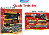 Classic Train Set Toy with Tracks Light Engine Battery Operated Kandy Toys Gift