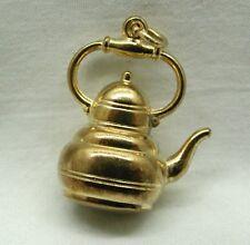 Hermoso de 9 quilates de oro Moda Antigua Tetera encanto