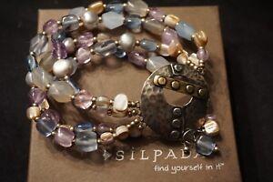 Silpada B2223 Stretch Bracelet Sterling Silver & Brass Amethyst Agate Quartzite