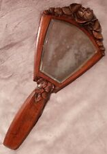 "Lovely Antique French? Signed Carved Fruit Wood Hand Mirror ""Helene"""
