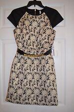 Kensie Women's Belted Black / Cream / Gold Dress with Metallic Trim Size XS