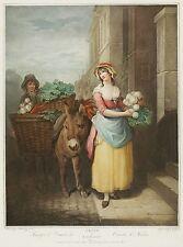 VERKÄUFER - Rüben - Cries of London - Turnips & Carrots - Farbpunktstich 1797