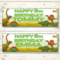 2 PERSONALISED 800mm x 297mm DINOSAUR BIRTHDAY BANNERS