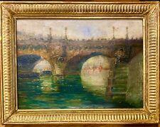 Belle vue d'un pont de Paris au XIXe, David Louis BOUCHET 1893, impressionnisme