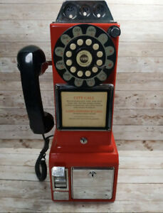 Crosley Red Pay Phone Retro Style Savings Bank. FOR PARTS OR SHOW. NOT TESTED