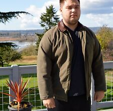 Very Nice Men's Size M Green Marlboro Classic Wool Lined Jacket w/Leather Collar