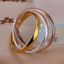 925 Sterling Silver Tricolor Rose Gold Band Ring Size 8 B77