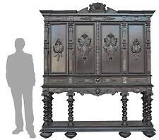 Important cabinet bois noirci style Renaissance colonnes XIXème