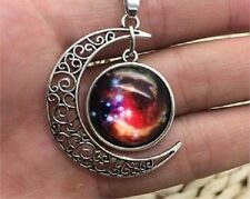 Glass Galaxy Planet Crescent Moon Pendant Necklace A40 UK Seller