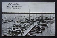 Sailboat Race WHITE LAKE YACHT CLUB, Whitehall, Michigan RPPC postcard AS IS