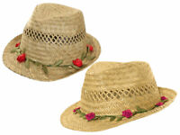 Girls Straw Summer Hat Sun Trilby Holiday Beach Fedora With Roses Brim 3 Sizes