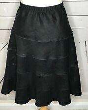Soft Surroundings  XL skirt 100% linen black tiered full gypsy BOHO pull on