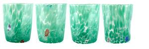 Murano Glass Drinking Glass Tumblers Set of 4 Four Green Millefiori