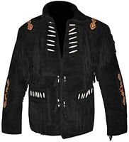 Native American Mens Western Cowboy Real Suede Leather Jacket