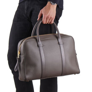 New $3250 TOM FORD Grayish Brown Soft Grained Buckley Leather Briefcase Bag