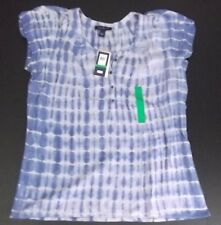 New Bandolino Jersey Knit Top Large Iris Blue Tie Dye Embroidery