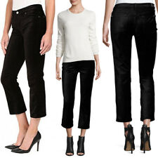 7 For All Mankind Cropped Boot-Cut Stretch Velvet JEANS Pants 30 Black NEW