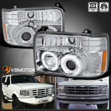 92-96 Ford Bronco F150 F250 F350 Chrome Halo Projector Headlights Corner