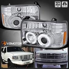 92 96 Ford Bronco F150 F250 F350 Chrome Halo Projector Headlights Corner