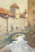 William Eyre, Bridge over River Darro, Granada Spain –Mid-C20th gouache painting