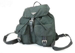 Authentic PRADA Dark Green Nylon and Leather Backpack Bag Purse #39951