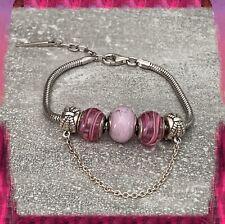 Bracelet CHARMS 3 Perles En Verre de Murano AUTHENTIQUE & Argent Massif Rhodié
