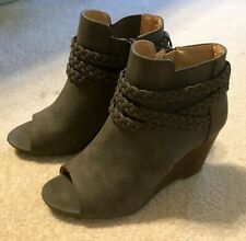"Cato Women's Booties Size Sz 7 M Womens Booty 3.25"" Heel Zips Braided Gray"