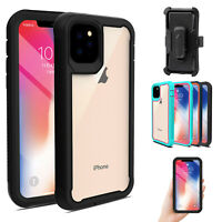 For iPhone 11 Pro Max Rugged Armor Case Dual Layer Belt Clip Kickstand Cover
