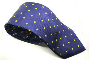 """Men's Tie T.M. Lewin Blue Yellow Polka Dot 100% Silk 3.25"""" Width 59"""" Long"""