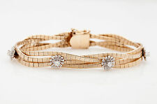 Estate $5000 1ct VS H Diamond SUNFLOWER 14k Yellow Gold Designer Bracelet
