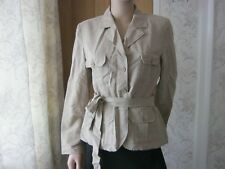 Womens George Stone Beige Fashion Fitted Belted Jacket Coat UK 12 Petite EUR 40