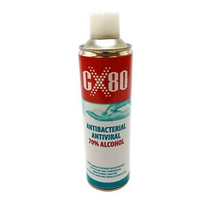 Antibacterial Spray Aerosol CX80 70% Alcohol Surface Cleaner 500ml Disinfection