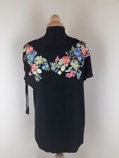 Oasis Black Sheer Embroided Floral Top Blouse Size M 12-14