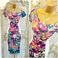 AMY CHILDS  UK 10 NWT White Spring Floral Panel Bardot Wiggle Pencil Dress
