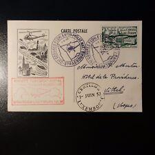 AVIATION LETTRE COVER PREMIER VOL PAR HÉLICOPTÈRE STRASBOURG LUXEMBOURG 1952