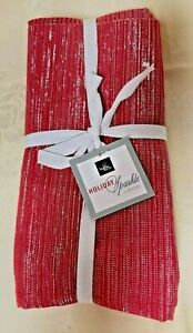 NEW! Christmas Holiday Red & Silver Sparkly Napkins Set of 4