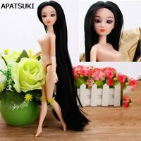 "DIY Doll Head with Long Black Hair Doll Accessories For 11.5"" Doll 1:6 BJD Dolls"