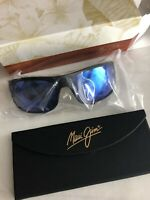 Maui Jim Peahi Polarized Sunglasses Black Matte Rubber Blue Hawaii NEW B202-2M