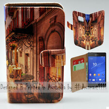 Wallet Phone Case Flip Cover for Sony Ericsson Xperia Z3 - Alp Street Night Cafe