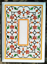 "30""x20"" white marble table top dining coffee room decor inlay malachite b04"