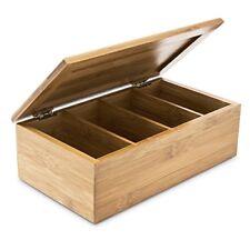 Relaxdays - Boîte en Bambou pour le Thé 4 compartiments