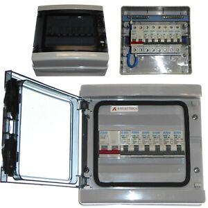 Consumer Unit 4 / 5 / 6 Way IP65 100A Switch Garage Shed Marina - Choice of MCB
