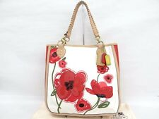 Auth COACH Hand Tote Bag Poppy Placed Flower Canvas White Red 00141032400 mF