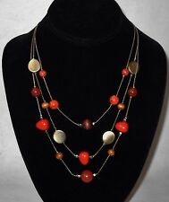 Orange Brown Silver Gemstone Wood Beaded 3 Strand Necklace Adjustable Chain