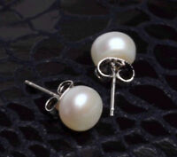 Beautiful AAA 9-10mm White Fresh Water Pearl Earrings 925 Silver Stud