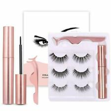 Magnetic Eyelashes With Eyeliner 3 Pairs And Tweezer False Natural Lashes Set UK