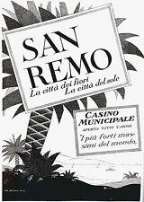 PUBBLICITA' 1928 SANREMO CASINO' RIVIERA ITALIANA MARE VACANZE CITTA' DEI FIORI