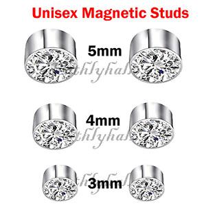 Unisex Non-Piercing Magnetic Ear Studs Magnet Men Women Fake Earrings 3mm - 5mm