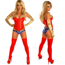 Superwoman Superhero Wonder Woman Corset Fancy Dress Halloween Costume